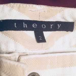 Theory Pants - Theory Size 2 Lace up Fly Striped Cream White